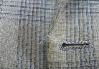 ジャケットの前端の破れ修理